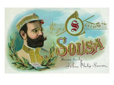Sousa Brand Cigar Box Label, John Philip Sousa, American Composer and Conductor