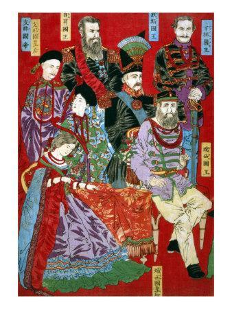 Portrait of World Sovereigns, Japanese Wood-Cut Print