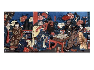 Doctor Huatuo Attending to the Warrior Guanyu's Arm Wound, Japanese Wood-Cut Print