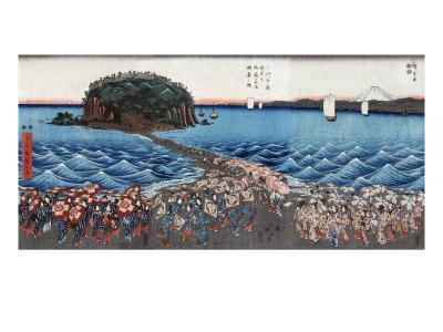 Opening Celebration of Benzaiten Shrine at Enoshima in Soshu, Japanese Wood-Cut Print