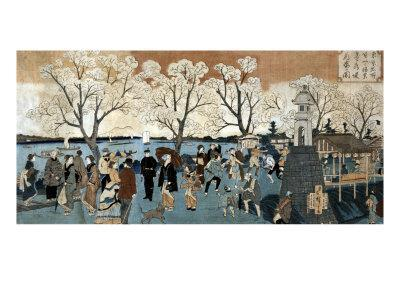 Cherry Blossoms in Full Bloom along Sumida River, Japanese Wood-Cut Print