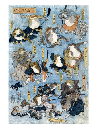 Famous Heroes of the Kabuki Stage Played by Frogs, Japanese Wood-Cut Print