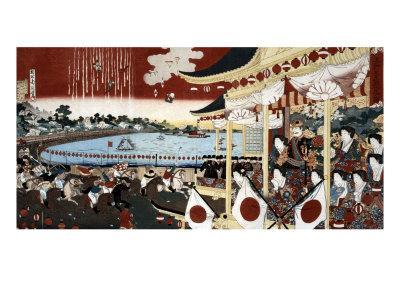 Horse Race in Ueno Park, Japanese Wood-Cut Print