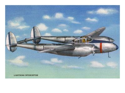 View of the Lockheed P-38 Lightning Interceptor Fighter