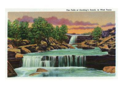 Texas - View of the Falls at Harding's Ranch in West Texas, c.1940
