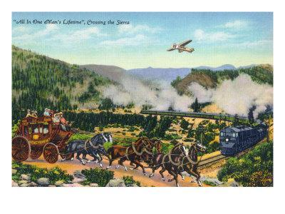 California - View of Carriage, Train, and Airplanes Crossing the Sierra Mountains, c.1943