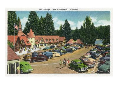 Lake Arrowhead, California - General View of the Village, c.1949