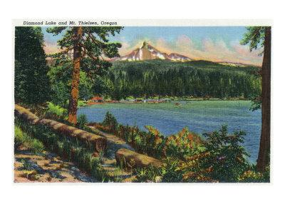 Oregon - View of Diamond Lake and Mount Thielsen, c.1940