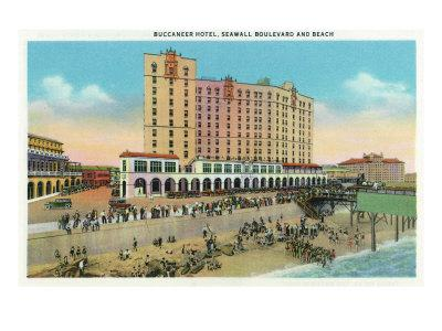 Galveston, Texas - Exterior View of the Buccaneer Hotel from Seawall Blvd and the Beach, c.1947