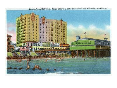 Galveston, Tx - Exterior View of the Buccaneer Hotel, Murdoch's Bath House, Beach Front, c.1947
