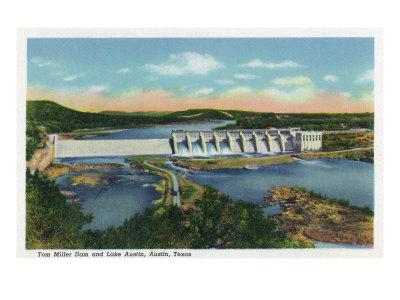 Austin, Texas - Panoramic View of the Tom Miller Dam and Lake Austin, c.1948