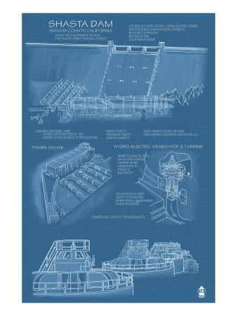 Shasta Dam, California - Blueprint
