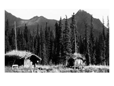 Alaska - View of Trapper's Cabin and Cache