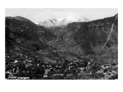 Manitou Springs, Colorado - Panoramic View of Town