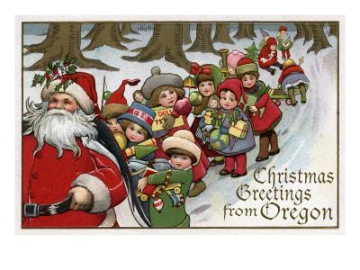 Christmas Greetings from Oregon - Santa & Sleigh