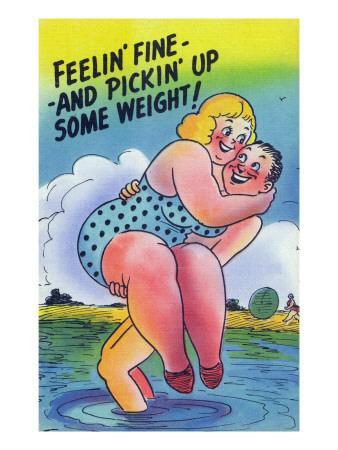 Comic Cartoon - Feelin' Fine and Picking Up Weight; Man Lifts Big Girl