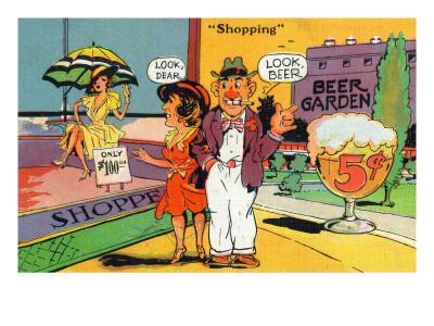 Comic Cartoon - Shopping Scene; Woman Says Look Dear, Husband Says Look Beer
