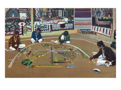 Navajo Yebashi Ceremony, Whirling Log Sand Painting
