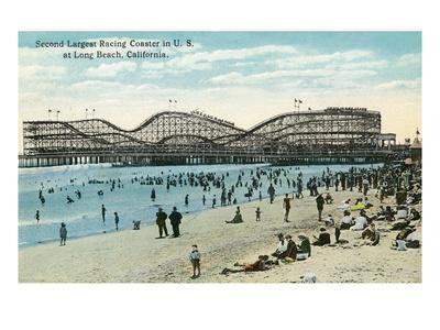 Long Beach, California - Panoramic View of the Roller Coaster