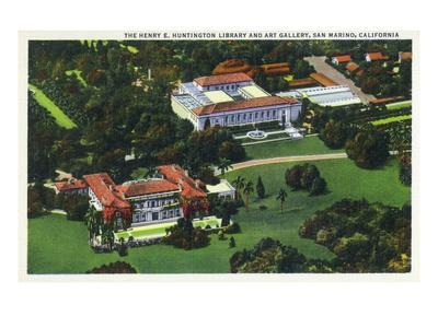 San Marino, California - Aerial View of the Henry E Huntington Library and Art Gallery