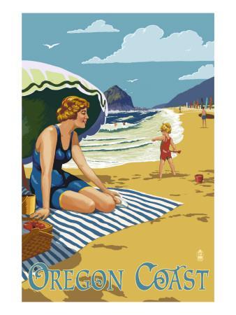 Oregon Coast Beach Scene Poster