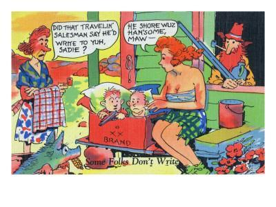 Comic Cartoon - Hillbillies; Mom Asking Daughter if the Travelin' Salesman Would Write