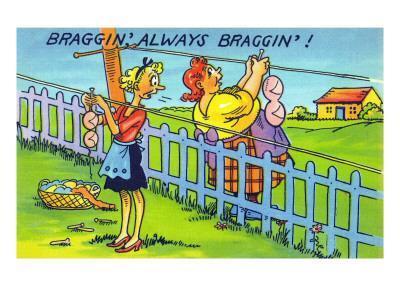 Comic Cartoon - Bragging, Always Bragging; Women Hang Different Sized Bra on Line