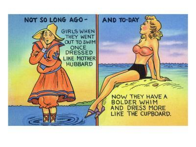 Comic Cartoon - Mother Hubbard Pun; Girls at the Beach Used to Dress Like Mother Hubbard