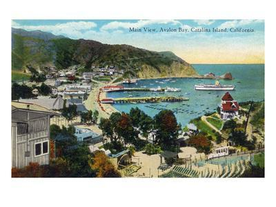 Santa Catalina Island, California - Panoramic View of Avalon and Bay
