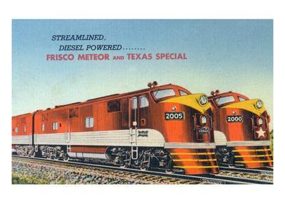Texas - View of the Frisco Meteor and Texas Special Trains