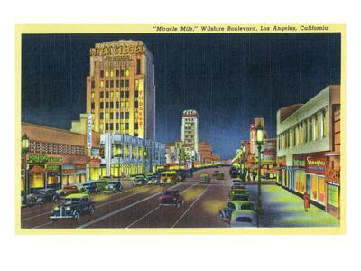 Los Angeles, California - View of Miracle Mile, Wilshire Blvd at Night