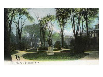 Syracuse, New York - Scenic View of Statue in Fayette Park