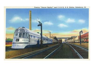 Galesburg, Illinois - Denver Zephyr Train at Station