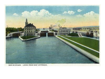 Sault Ste. Marie, Michigan - View of the Soo-Michigan Locks from the Eastern Approach