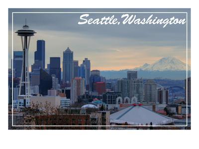 Seattle, Washington - Skyline and Rainier Sunrise