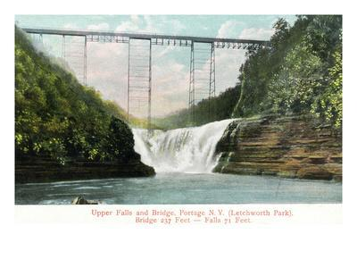Portage, New York - Letchworth Park, View of Upper Falls and the Bridge