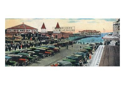 Old Orchard Beach, Maine - Crowds and Parked Cars Near Pier Scene