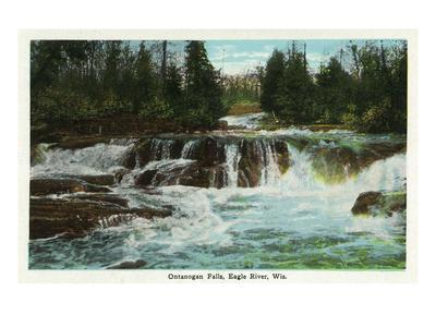 Eagle River, Wisconsin - Ontanogan Falls Scene