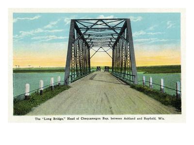 Chequamegon Bay, Wisconsin - Long Bridge Between Ashland and Bayfield