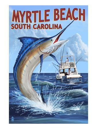 Myrtle Beach, South Carolina - Marlin Fishing Scene