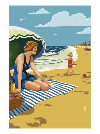 Beach Scene with Woman
