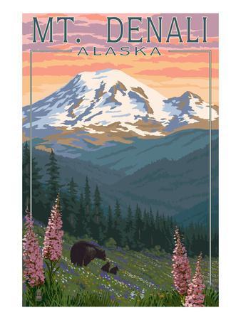Bear and Cubs Spring Flowers - Mount Denali, Alaska