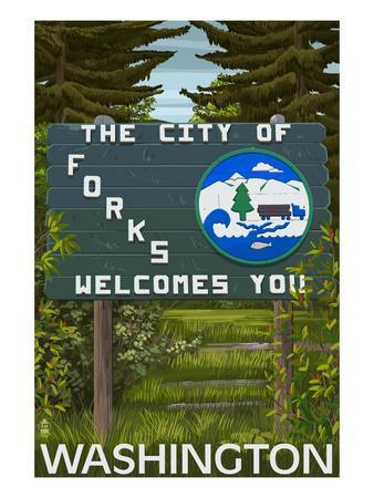 Forks, Washington - Town Welcome Sign
