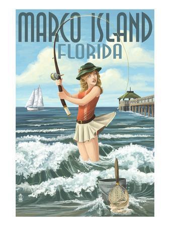 Marco Island, Florida - Pinup Girl Surf Fishing