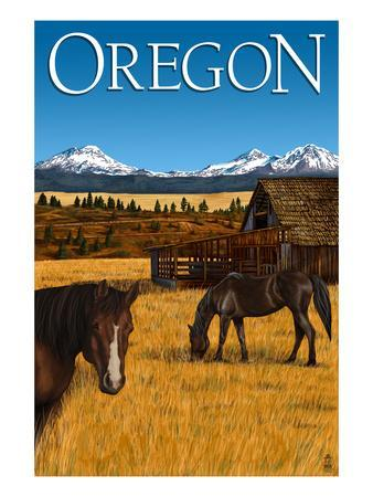 Horses and Mountain - Oregon