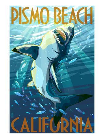 Pismo Beach, California - Stylized Sharks