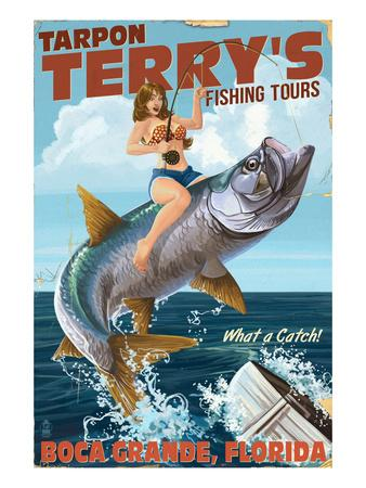 Boca Grande, Florida - Pinup Girl Tarpon Fishing