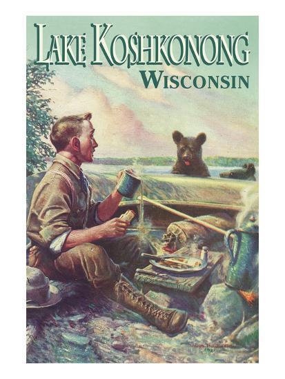 Lake Koshkonong, Wisconsin - Kayak Scene Prints