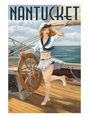 Nantucket, Massachusetts - Pinup Girl Sailing