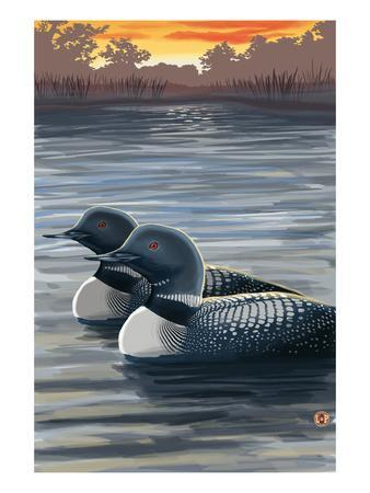 Loons and Sunset